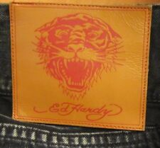 AUTHENTIC DON ED HARDY EMBELLISHED TIGERS STRAIGHT LEG MEN JEANS SIZE 42 X 32