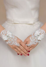 White Cutout Floral Bowed Gloves Wrist Bridal Opera Prom Wedding Formal Party OS