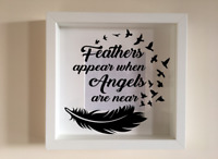 IKEA RIBBA Box Frame Personalised Vinyl Wall Art Quote Feathers appear doves