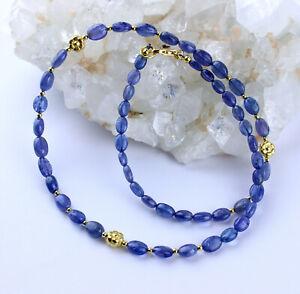 Tanzanite Necklace Precious Stone Blue Oval Natural Designer 46 CM