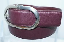 Salvatore Ferragamo Mens Wine Belt Adjustable Gancini Reversible Size 34