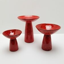 Mid Century Italian Candlestick Candle Holder Set Italy Orange Red Pottery AS IS