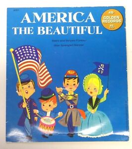 Vintage 1966 AMERICA THE BEAUTIFUL Golden Records 45 RPM Vinyl Record in Sleeve
