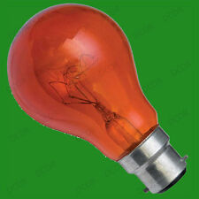 2x 40W Red Fireglow GLS LIGHT BULBS, For flame Effect Electric Fires, BC, B22