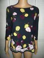 Pretty Ann Taylor size SP navy blue floral 3/4 sleeve shirt women NWOT