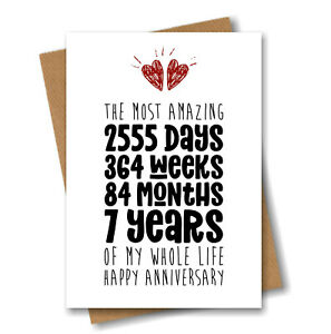7th Anniversary Card - The Most Amazing Seven Years of My Life - Him Her Wedding