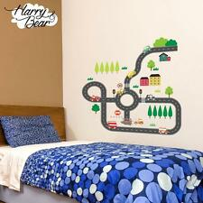 Road Map Cars Nursery Wall Stickers, Kids Vinyl Wall Decals Wall Art Removable