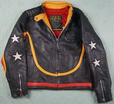 Rare Vintage REZA DURO Embroidered Biker Motorcycle Leather Jacket 90s Retro M