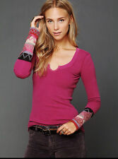 Anthropologie Free People Thermal Knit Top S Kombucha Cuff Alpine Pink Long slv