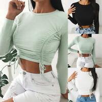 ❤️ Womens Sexy Drawstring Crop Tops Ladies Long Sleeve Sweatshirt Blouse T-shirt
