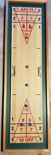 Carrom ShuffleBoard Game & 10 Wooden Bowling Pins with 1 Red Wood Ball