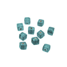 Shiny Plain Handmade 6mm Opaque Teal Glass Cube Beads Pack of 10 (R17/5)