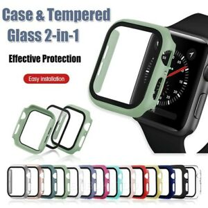 For Apple Watch Case Series 1/2/3/4/5/6/SE Full Cover Glass Screen Protector