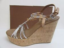 Coach Size 10 Leather Cork Wedge Heels New Womens Shoes