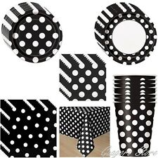 Black Polka Dot Plates, Napkins, Cups, Tablecover Birthday Mickey Party Supplies