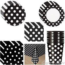 Black Polka Dot Plates, Napkins, Cups, Tablecover Birthday Mickey Party Supplies
