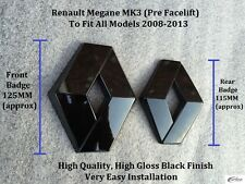 Renault Megane MK3 2009-2013 Gloss Black Front & Rear Badge Set - RS250- 2.0T