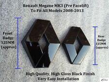 Renault Megane MK3 2009-2013 Gloss Black Front & Rear Badge Set - RS250- 2.0T