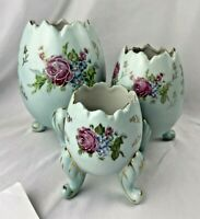 VINTAGE Napco  ROSE EGG PLANTER Blue VASE SET 3 HANDPAINTED