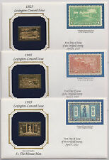 US 1925 Lexington Concord 3 Covers 22k Gold Replica Stamps + Reproductions |