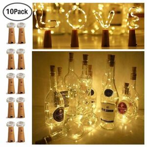 10PCS Bottle TOP String Lights 20 LED Warm White Fairy Wine Cork Shaped Stopper*