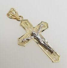 Free Chain Real 14k Yellow White Gold Jesus Crucifix Cross Vintage Charm Pendant
