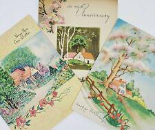 3 Unused Vintage Greeting Cards BIRTHDAY GET WELL ANNIVERSARY 1940's