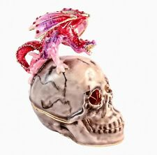 Ciel Collectables Skull with Dragon Trinket Box Made with Swarovski Crystals
