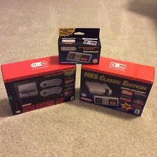 NIB Nintendo Entertainment System NES & SNES Classic Edition Mini Console Bundle