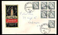 NEW ZEALAND 1959 QE 11 1/2d GREY CAPE REINGA CENTENNIAL EXHIBITION COVER (F)