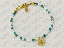 Ethnic Beaded Bracelet Gold Mini Coin Disc Turkish Ottoman Blue & White Boho