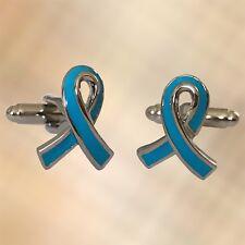 Mens Light Blue Ribbon Cufflinks Cuffs Charity Mens Health Awareness UK Seller