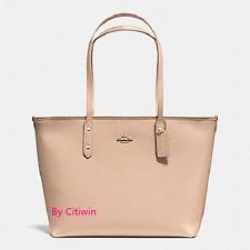 New Coach F58846 Crossgain Leather City Zip Tote Handbag Purse Bag Beechwood