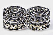 Vintage Judith Jack Sterling Silver Marcasite Omega Back Earrings