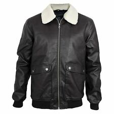 Mens Threadbare PU Faux Leather Borg Sherpa Collar Vintage MA2 Bomber Jacket