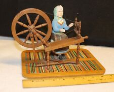 VINTAGE MINIATURE FOLK ART SEATED WOMAN WITH WOODEN WORKING MODEL SPINNING WHEEL