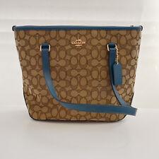 Coach Signature Zip Top Shoulder Tote Bag F55364 Khaki/Atlantic