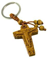 CRUCIFIX CROSS KEY RING WOODEN / WOOD KEYRING / IN PACKET / JESUS / INRI