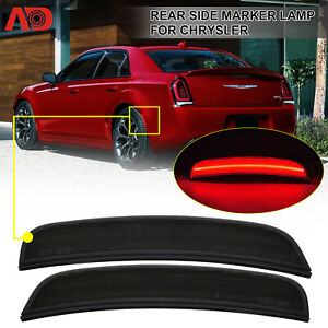 FOR CHRYSLER 300 2015-2020 RED LED SIDE MARKER LIGHT LAMP REAR SMOKED LENS 2PCS
