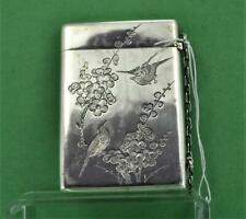 Antique Chinese 19 c Export Silver Card Case Fine chased Birds Wang Hing Co
