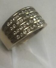 Vintage 10k Solid Yellow Gold  Ring Genuine Natural Diamonds Paved 1 Carat Size8