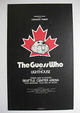 The GUESS WHO Seattle Center Arena 1974 US ORG Cardboard CONCERT POSTER Bachman