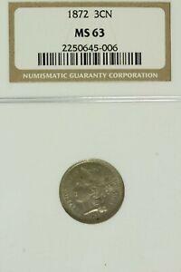 1872 Three Cent Nickel : NGC MS63