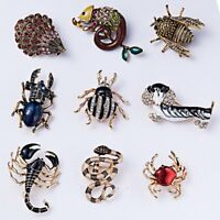 Fashion Women Crystal Dog Snake Bee Animal Brooch Pin Women Costume Jewelry New