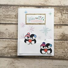 Christmas Card For The Season -winter Wonderland Card-cards With Penguins