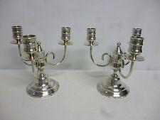 """Paire de candélabre bougeoir métal argenté """"le chardon"""" à trois lumières"""