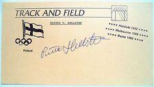 Hellsten DURAND OLYMPIQUE 1956 400 M Médaille de Bronze Original encre Olympique Autographe