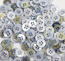 "40 Vintage Iridescent BLUE 1/2"" 4 Hole Sew Through Buttons Sewing Craft NOS"