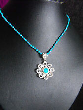 knotted SILK DAISY NECKLACE Turkey turquoise & Howlite gemstone sterling silver