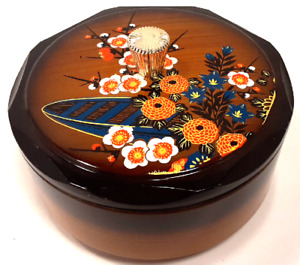 Round Japanese Laquerware Trinket Box w/ Lid Decorative Container from Japan